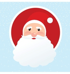 Christmas card with Santa Klaus face vector image