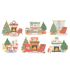 christmas interiors new year decorated room vector image