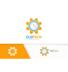 Clock and gear logo combination time and vector