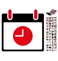 Clock Calendar Day Flat Icon With Bonus vector