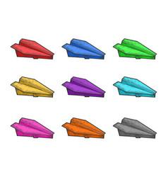 color paper plane set sketch vector image