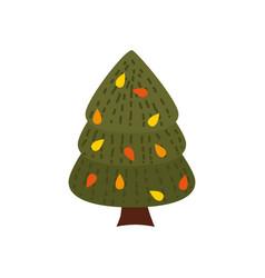 colorful autumn pine tree cartoon yellow orange vector image