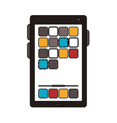 Colorful graphic smartphone device icon with app vector