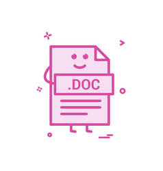 computer doc document file format type icon design vector image