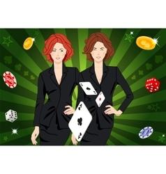 Confident lucky girl throws aces vector image