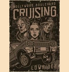 Custom american cars vintage poster vector