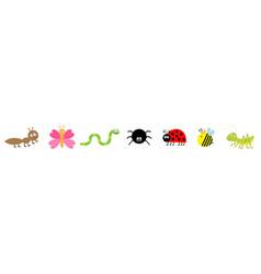 Cute cartoon kawaii insect set line ladybug vector