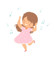 Cute smiling girl singing and dancing adorable vector