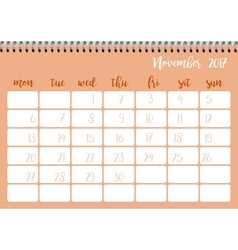 Desk calendar template for month November Week vector