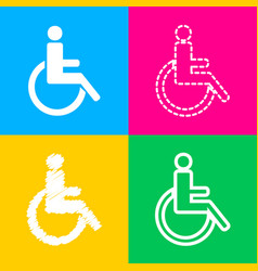 Disabled sign four styles of icon on vector