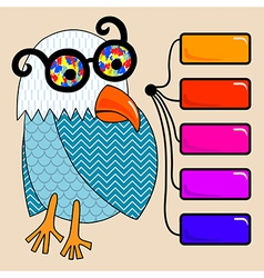 Doodle vintage cartoon comic funny bird vector