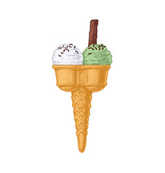 double ice cream cone vector image