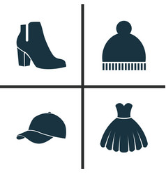 dress icons set collection of beanie female vector image