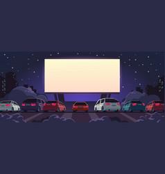 Drive-in cinema open space auto theater vector