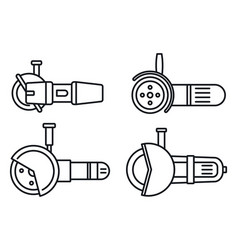 electric angle grinder icon set outline style vector image