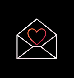envelope with heart outline colored icon or vector image