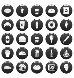 fast food icons set vetor black vector image