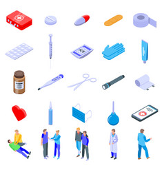 First medical aid icons set isometric style vector