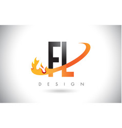 Fl f l letter logo with fire flames design and vector