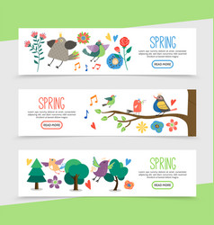 flat hello spring horizontal banners vector image