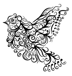 flying bird tattoo sketch zentangle stile vector image