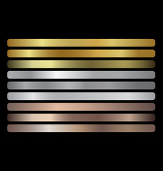 gold silver bronze gradients set vector image