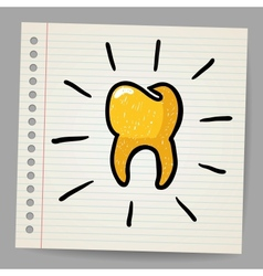 Gold tooth doodle vector