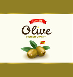 green olive label with realistic olive vector image
