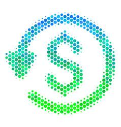 Halftone blue-green refund icon vector