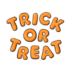 Halloween gingerbread cookies letters trick or vector