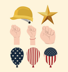 happy labor day set icons vector image