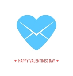 happy valentines day with blue heart letter icon vector image