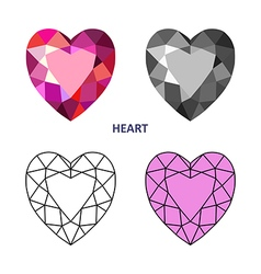 Heart gem cut vector