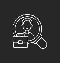 human resource chalk white icon on black vector image