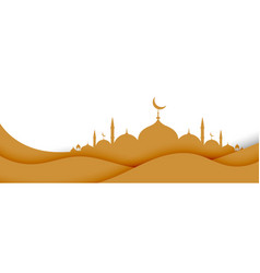 Islamic background with mosque in paper style vector