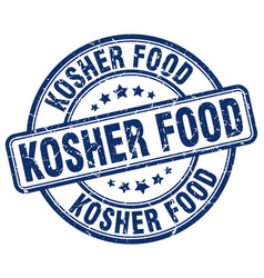 Kosher food blue grunge round vintage rubber stamp vector