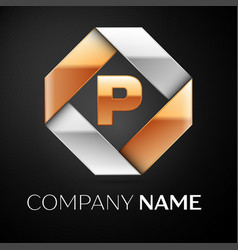 Letter p logo symbol in the colorful rhombus on vector