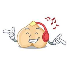 listening music chickpeas mascot cartoon style vector image