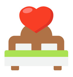 Lovers bed with heart flat icon valentines day vector