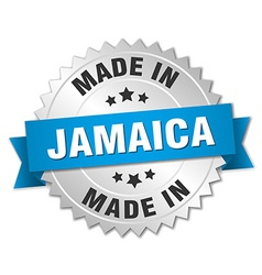 Made in Jamaica silver badge with blue ribbon vector