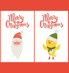 merry christmas greeting cards santa claus chicken vector image