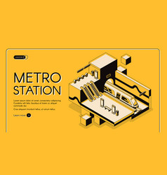 Modern metro station isometric website vector