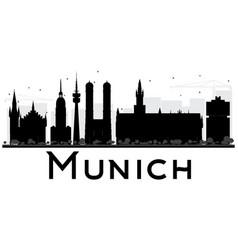 Munich City skyline black and white silhouette vector