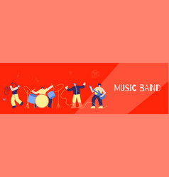 music band people instruments song flat banner vector image