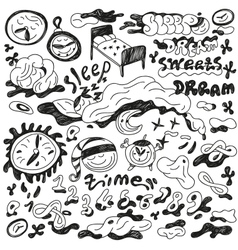 Nights sleep - doodles set vector