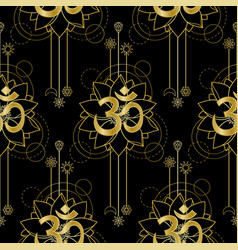 om and lotus gold seamless pattern vector image