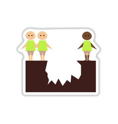 Paper sticker on white background people abyss vector