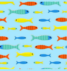 pattern with cartoon fishes vector image