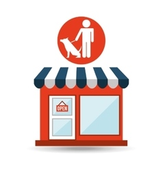 Pet shop with man and dog vector
