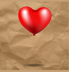 red balloon heart in cardboard background vector image